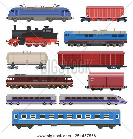 Train Vector Railway Transport Locomotive Or Wagon And Subway Or Metro Transportation Illustration S