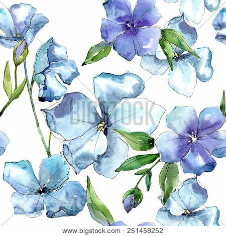 Watercolor Blue Flax Flower. Floral Botanical Flower. Seamless Background Pattern. Fabric Wallpaper