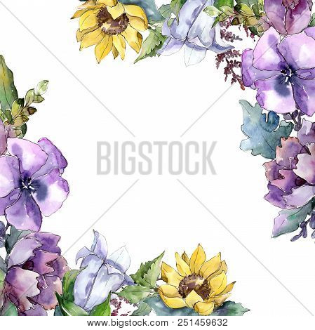 Watercolor Bouquet Flowers. Floral Botanical Flower. Frame Border Ornament Square. Full Name Of The