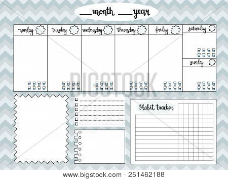 Empty Weekly Planner With Water Level Tracker, Space For Notes, To Do List And Habit Tracker, Gray C