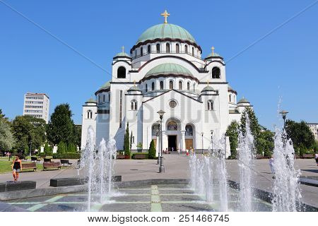 Belgrade, Serbia - August 15, 2012: People Visit St Sava Cathedral In Belgrade, Serbia. Belgrade Is
