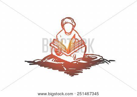 Muslim, Arab, Islam, Religion, Koran, Boy, Child Concept. Hand Drawn Muslim Boy Sitting And Reading
