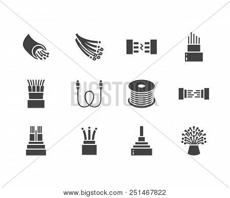 Optical Fiber Flat Glyph Icons. Network Connection, Computer Wire, Cable Bobbin, Data Transfer. Sign