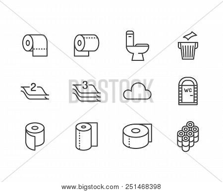 Toilet Paper Roll, Towel Flat Line Icons. Hygiene Illustrations, Mobile Wc, Restroom, Tree Layered N