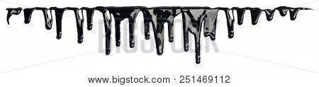 Black ink paint dripping isolated on white