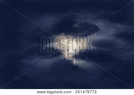 Conceptual Image With Ladder Leading To Moon And Clouds Background. Elements Of This Image Furnished