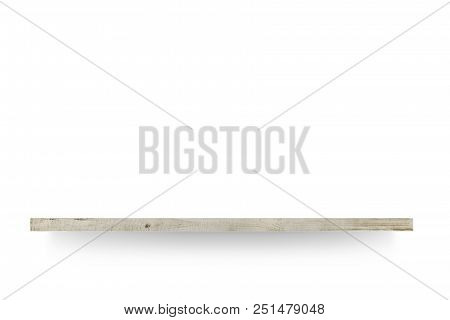Wooden Shelf Is Over White Background Background