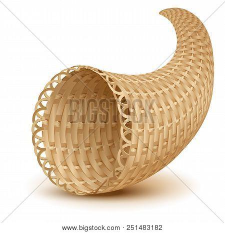 Horn Of Plenty Symbol Thanksgiving Day. An Empty Cornucopia. Isolated On White Vector Cartoon Illust