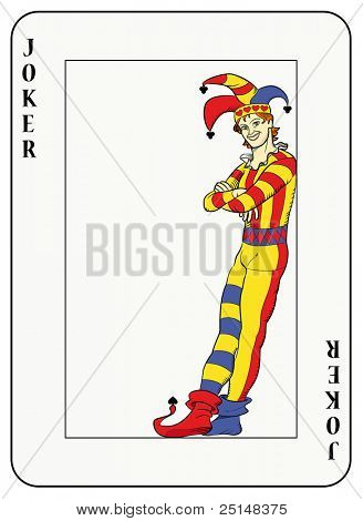 playing card: Joker leaning against card frame