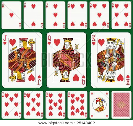 Heart suit. Jack, Queen and King double sized. Green background in a separate level.
