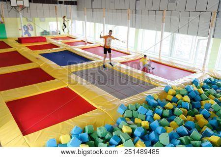 Gomel, Belarus - July 25, 2018: Children Jumping On Trampolines In The Trampoline Center Neo Land