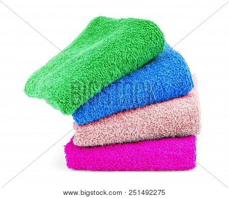 Multicolored Towels On A White Background Tourist, Resort, Health, Spa, No, People, Clean, Towels,