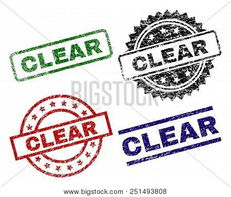 Clear Seal Prints With Distress Surface. Black, Green, Red, Blue Vector Rubber Prints Of Clear Tag W