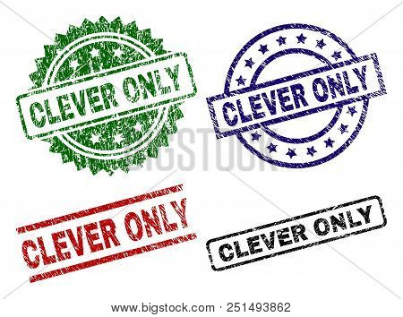 Clever Only Seal Prints With Damaged Texture. Black, Green, Red, Blue Vector Rubber Prints Of Clever