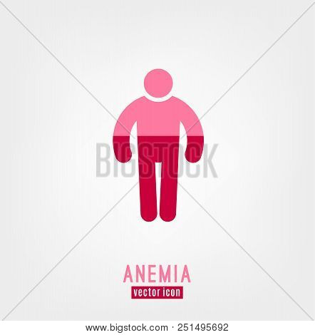 Anemia and Hemophilia icon. Man figure shape with blood level isolated on white background in flat style. Haemophilia disease awareness symbol. Vector illustration. poster