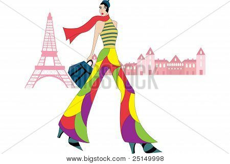 Illustration Of A French Girl Dressed Up In Retro Clothes