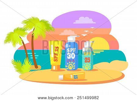 Before And After Application Promotion. Sunset At Beach With Tubes Of Creams And Lotions For Suntan