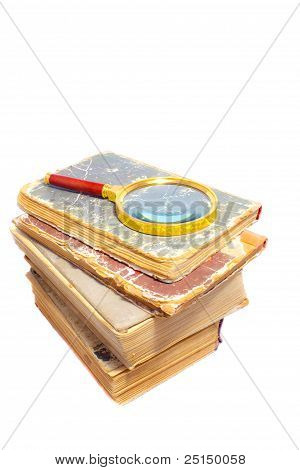 Old Books With Magnifier