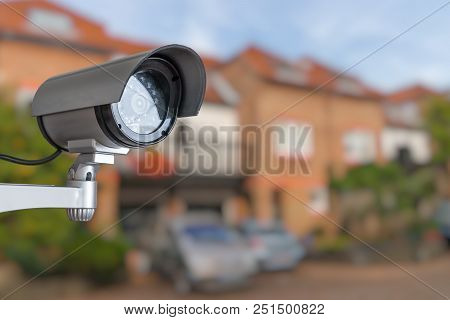Security Cctv Camera Is Monitoring Home. Surveillance And Safety Concept.
