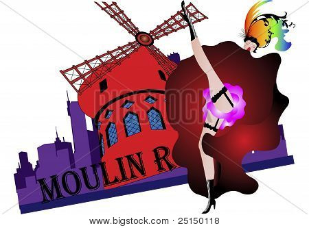Illustration Of A Can Can Girl Dancing In Front Of Moulin Rouge