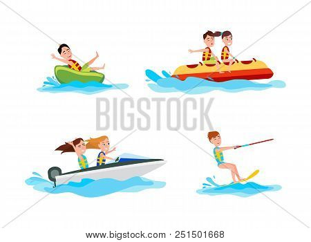 Kitesurfing Set Of Sports Collection Of Summer Activities For People, Boating And Banana Boat, Vecto
