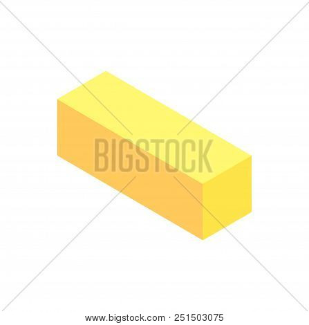 Vertical Geometric Figure Template Yellow Cuboid Isolated On White Background Prism With Rectangular