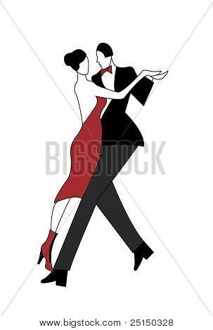 Illustration Of A Couple Dancing Tango
