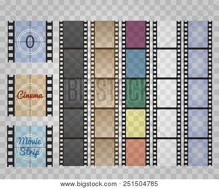 Filmstrip On Transparent. Movie Film Strip Isolated, Vector Cinema Old Reel Camera Strips, Super 8 R