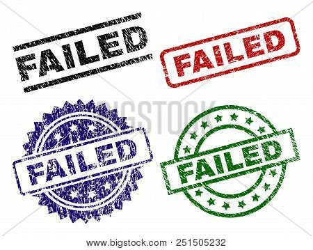 Failed Seal Stamps With Corroded Texture. Black, Green, Red, Blue Vector Rubber Prints Of Failed Tag