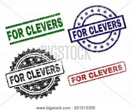 For Clevers Seal Stamps With Scratch Style. Black, Green, Red, Blue Vector Rubber Prints Of For Clev