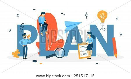 Plan Concept. Idea Of Business Planning And Strategy. Setting A Goal Or Target And Following Schedul