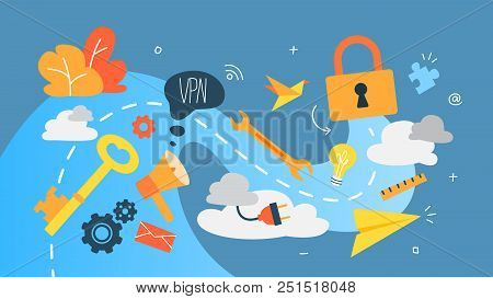 Vpn Concept. Using Internet Via Virtual Private Network. Modern Technology And Virtual Life. Idea Of