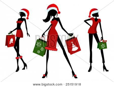 Christmas shopping. 3 different girls with shopping bags