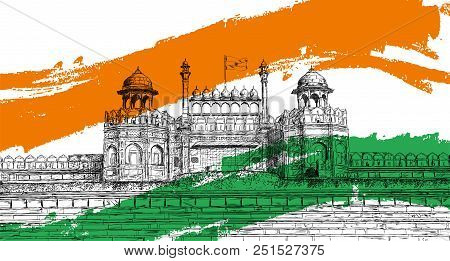 Indian Independence Day - Red Fort, India With Tricolor Flag Vector Illustration