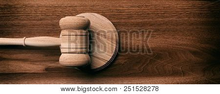Judge Or Auction Gavel On Wooden Background, Banner, Copy Space, Top View. 3d Illustration