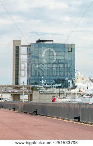 Barcelona, Spain - June 7, 2018: Oneocean Port Vell Barcelona. Building In Marina In Barcelona.