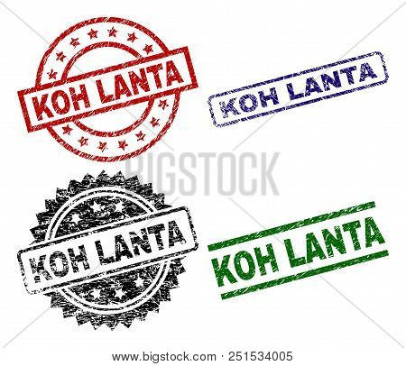 Koh Lanta Seal Imprints With Corroded Style. Black, Green, Red, Blue Vector Rubber Prints Of Koh Lan
