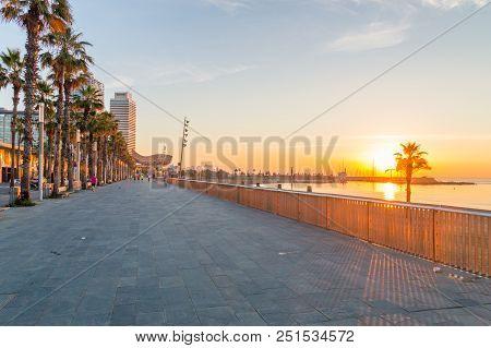 Barcelona, Spain - June 8, 2018: Sunrise At Boulevard On Mediterranean Sea At Barcelona.