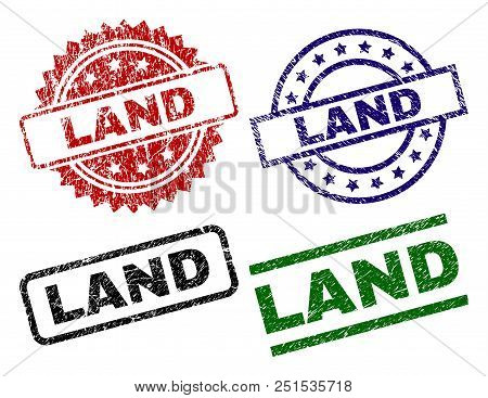 Land Seal Prints With Distress Texture. Black, Green, Red, Blue Vector Rubber Prints Of Land Label W