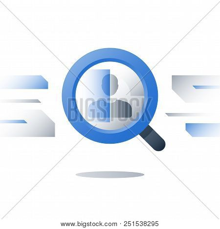 Human Resources, Recruitment Agency, Consider Candidate, Employment Concept, Magnifying Glass And Pe