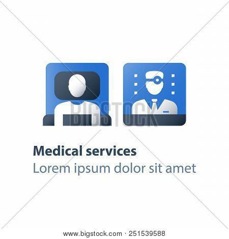 Hospice services, inpatient attendance, palliation illness, medical care, hospital ward with cot, rehabilitation center, stationary therapy, health care concept, vector flat icon poster