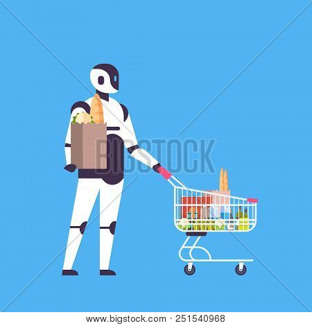Robot Holding Shopping Cart House Bot Helper Concept Artificial Intelligence Blue Background Flat Fu