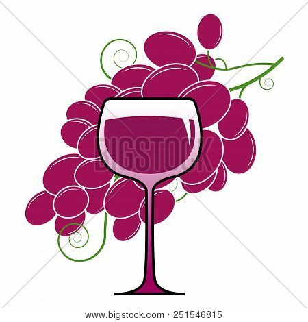 Logo Glass Of Wine And Grapes. Vector Illustration Of A Red Wine In A Glass. Icon Glass Of Red Wine