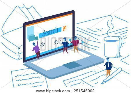 Laptop Screen Seo Search Engine Optimization People Working Together Monitoring Using Magnifier Glob