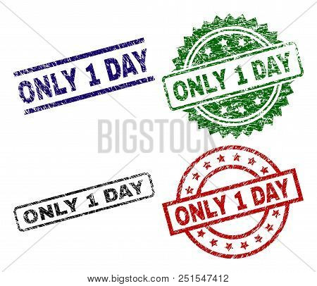 Only 1 Day Seal Prints With Corroded Surface. Black, Green, Red, Blue Vector Rubber Prints Of Only 1