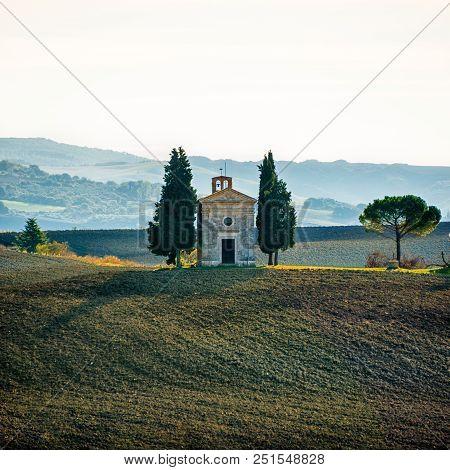 Vitaleta Chapel Early In The Morning In Autumn