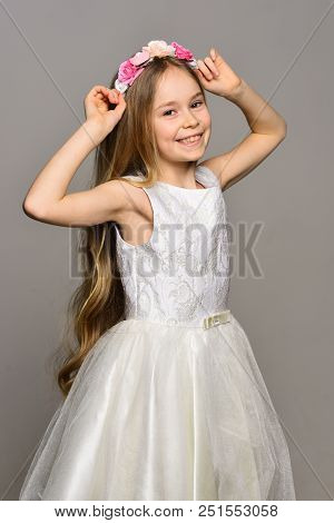 Style. Fashion Style Of Happy Girl. Style And Beauty Fashion. Hair Style Of Pretty Small Kid. Like A
