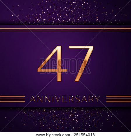 Realistic Forty Seven Years Anniversary Celebration Design Banner. Golden Number And Confetti On Pur