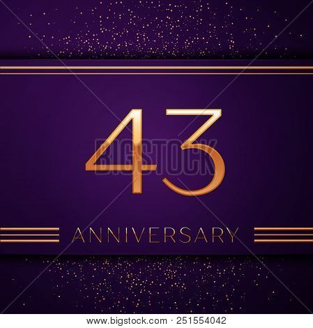 Realistic Forty Three Years Anniversary Celebration Design Banner. Golden Number And Confetti On Pur
