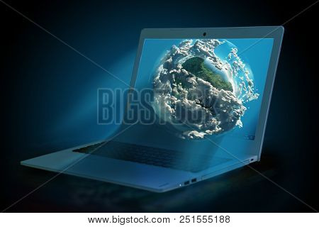 3d model of the Earth on the laptop screen, 3d illustration